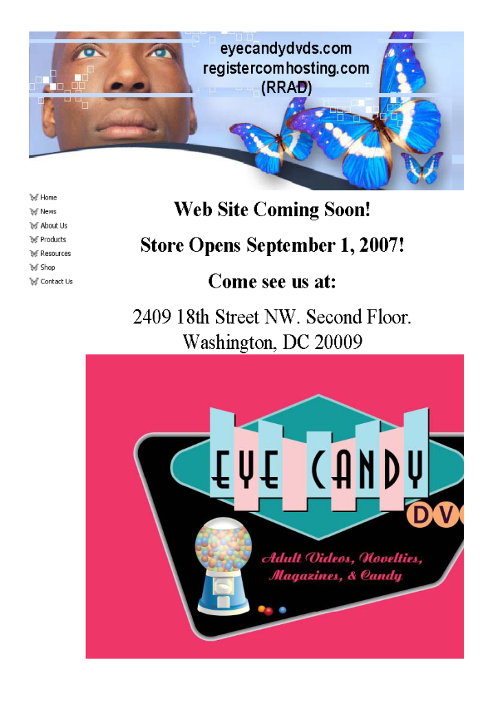 EyeCandyDVDs.com web site home page